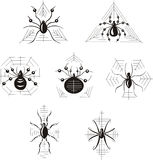 Dingbats with spiders Stock Photo
