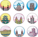 Dingbats with temples and towers Stock Image