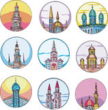 Dingbats with temples and towers Stock Images