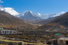 Dingboche bylandskap, Everest region Royaltyfri Foto
