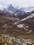Dingboche Village and Island Peak in Nepal Royalty Free Stock Photography
