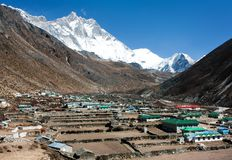 Dingboche village and mount Lhotse Royalty Free Stock Image