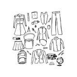 Dingen voor school, vectorillustratie Stock Foto