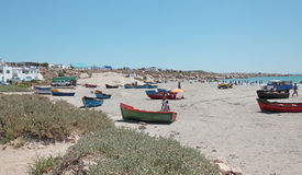 Dinghies on beach at Paternoster Royalty Free Stock Images