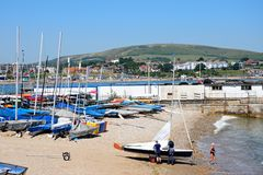 Dinghies on the beach, Swanage. Stock Photo