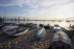 Dinghies beached on a sand at daybreak on Coronado Island royalty free stock images