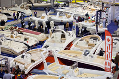 Dinghies Exposed At Big Blue Boat Show Rome, 2011 Stock Photo