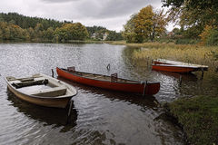 Dinghies in a Lake Stock Photo