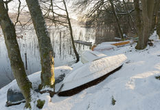 Dinghies in the Snow Stock Photography