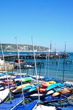 Dinghies on Swanage beach. Stock Photography