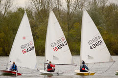 Dinghy boat racing. BEDFORD, BEDFORDSHIRE, ENGLAND - NOVEMBER 2013: , shown on 24 November 2013 at Priory Marina, Bedford Stock Photos