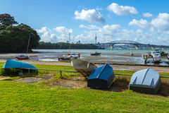 Dinghy at Little Shoal Bay Reserve Beach Auckland New Zealand Stock Image