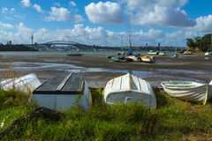 Dinghy at Little Shoal Bay Reserve Beach Auckland New Zealand Royalty Free Stock Photo