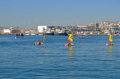 A Dinghy Race - In Harbour Children Dinghy Event Royalty Free Stock Images
