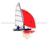 Dinghy with Red Sail Reflection. A lone sailor in a dinghy. Red fore sail is reflected in the water royalty free illustration