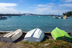 Dinghys at Little Shoal Bay Reserve Beach Auckland New Zealand Royalty Free Stock Images