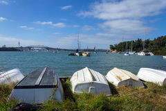 Dinghys at Little Shoal Bay Reserve Beach Auckland New Zealand Royalty Free Stock Image
