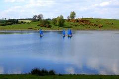 Dingies στα μπλε νερά Στοκ Εικόνες