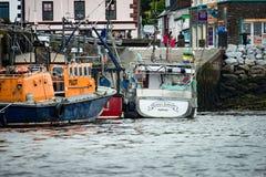 DINGLE IRLAND - AUGUSTI 21, 2017: Irländskt hamnstadlandskap i dinglen, ståndsmässiga Kerry, Irland Royaltyfria Bilder