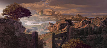 Dingle Peninsula. A storm tossed sea along a rocky Dingle Peninsula coastline in Ireland with stone cottage, seagulls and gate royalty free illustration