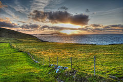 Dingle Peninsula. Sunset on the Dingle Peninsula showing Blasket Islands in background Royalty Free Stock Image