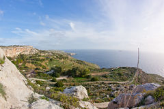 Dingli cliffs. Landscape on Malta island with the sea and a nice sky Royalty Free Stock Photos