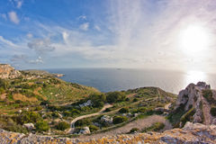 Dingli cliffs. Landscape on Malta island with the sea and a nice sky Royalty Free Stock Photography
