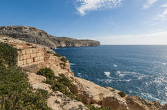 The Dingli Cliffs in Malta. Views of the mediterranean sea from the Dingli Cliffs (Rdum ta' Had-Dingli) in Malta Stock Photo
