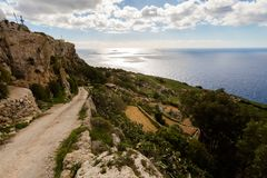 Dingli cliffs on Malta island. High Dingli cliffs on Malta island. Beautiful landscape in south Europe Royalty Free Stock Images