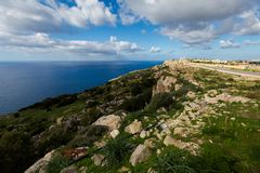 Dingli cliffs on Malta island. High Dingli cliffs on Malta island. Beautiful landscape in south Europe Stock Photos