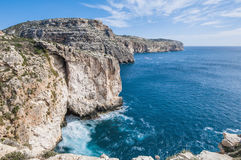 The Dingli Cliffs in Malta. Views of the mediterranean sea from the Dingli Cliffs (Rdum ta' Had-Dingli) in Malta Stock Image