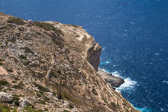 Dingli Cliffs, mediterranean island Malta. Dingli Cliffs, one of the most beautiful parts of the shore at the island Malta. Water of the Mediterranean sea Stock Image