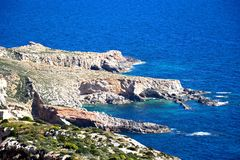 Dingli Cliffs and sea, Malta. View of the coastline during the Springtime at Dingli cliffs, Malta, Europe Royalty Free Stock Photo
