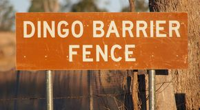 Dingo Barrier Fence Sign Royalty Free Stock Images