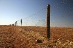 Dingo fence. Against clear blue sky. South Australia Stock Images