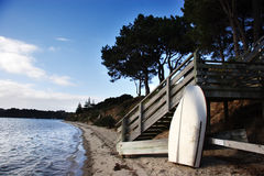 Dingy at the beach. New Zealand landscape Royalty Free Stock Photo