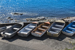 Dinghy boats out of water Stock Photo