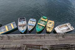Dingy Boats. Tied up at the docks of Monterey Ca 2017 Stock Images