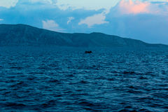 A dingy in the Mediterranean. A dingy with refugees in the Mediterranean Stock Photography