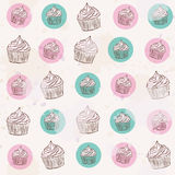 Dingy pattern with muffins Royalty Free Stock Images