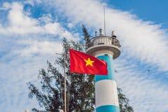 Dinh Cau海岛Phu Quoc,越南的灯塔标志 Phu Quoc是越南海岛在离柬埔寨的海岸的附近  库存图片