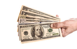 Dinheiro à disposicão, isolado no fundo branco Imagens de Stock Royalty Free