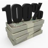 dinheiro 100% Foto de Stock Royalty Free