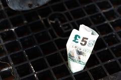 Dinheiro abaixo do dreno Fotografia de Stock