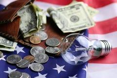 Dinheiro americano da moeda da lâmpada do programm do poder fotografia de stock royalty free