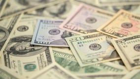 Dinheiro americano 5,10 da série do close up do fundo, 20, 50, nota de dólar 100 nova Cédula macro dos E.U. da pilha Imagens de Stock