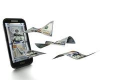 dinheiro americano rendido 3D do dólar inclinado e isolado no fundo branco ilustração do vetor