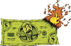 Dinheiro ardente do dinheiro Fotos de Stock Royalty Free
