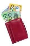 Dinheiro australiano na carteira Foto de Stock
