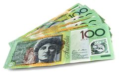Dinheiro australiano sobre o branco fotos de stock royalty free